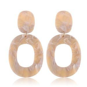 Khaki Brown Drop Oval Resin Acrylic Earrings